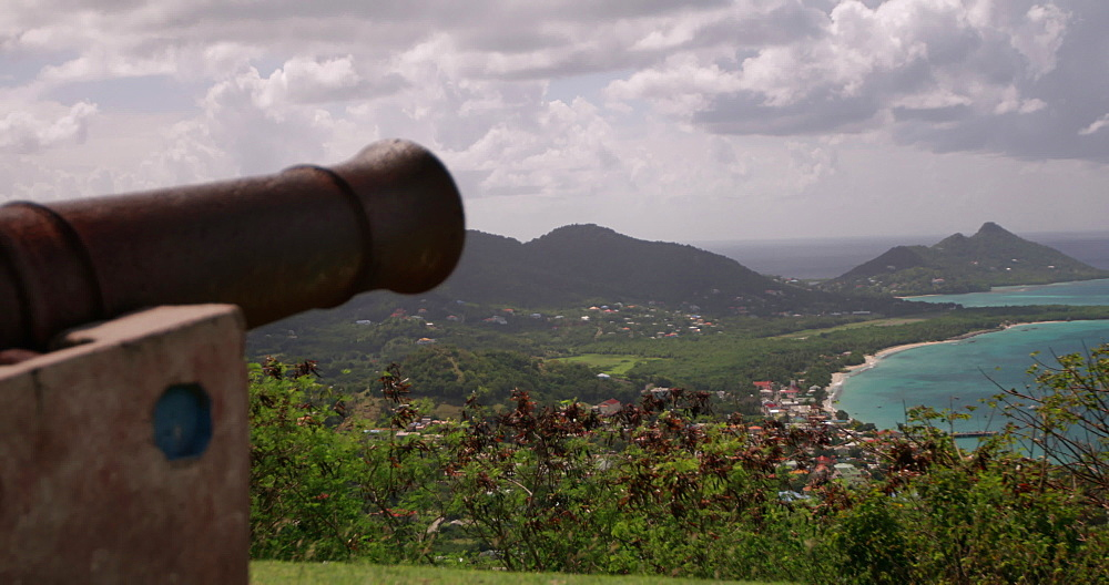 View of cannon at Princess Royal Hospital, Mount Royal, Belair, and Hillsborough Bay, Carriacou, Grenada, West Indies, Caribbean, Central America