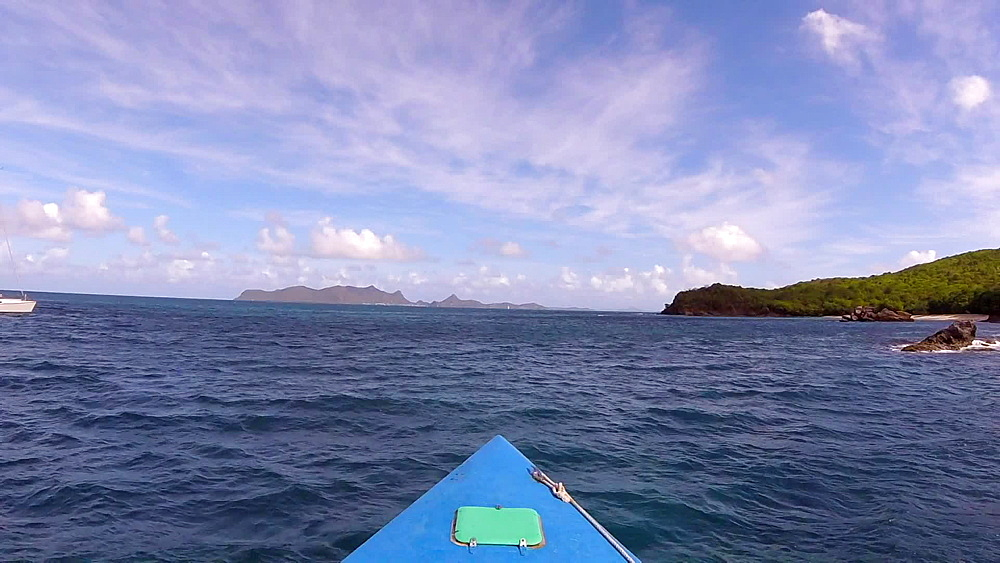 View from front of a boat heading to Anse le Roche Beach, Carriacou, Grenada, West Indies, Caribbean, Central America