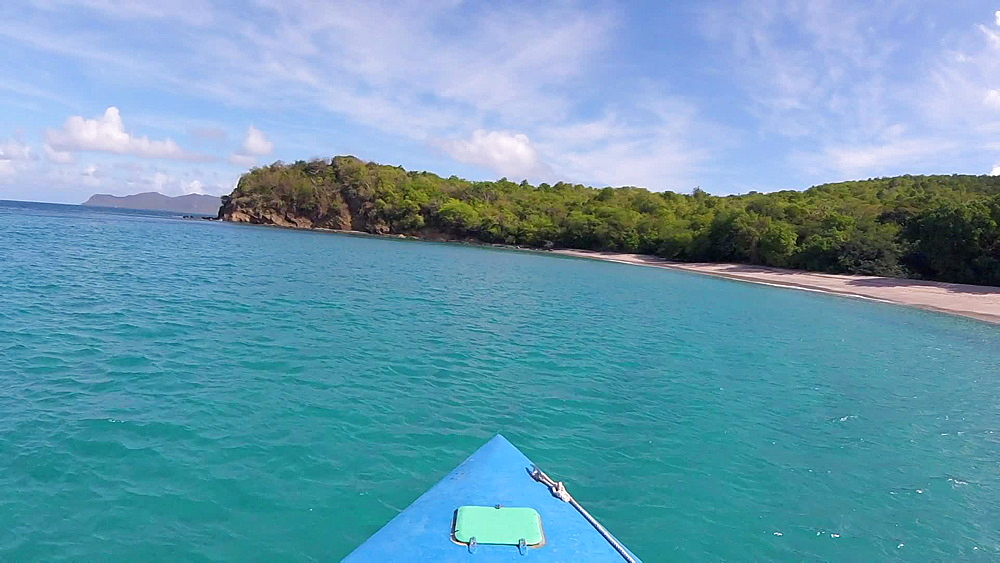 View from front of a boat approaching to Anse le Roche Beach, Carriacou, Grenada, Caribbean .