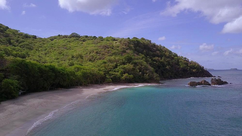 Drone shot of Anse le Roche Beach, Carriacou, Grenada, Caribbean.
