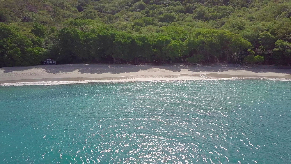 Drone shot of Anse le Roche Beach and surrounding area, Carriacou, Grenada, Caribbean.