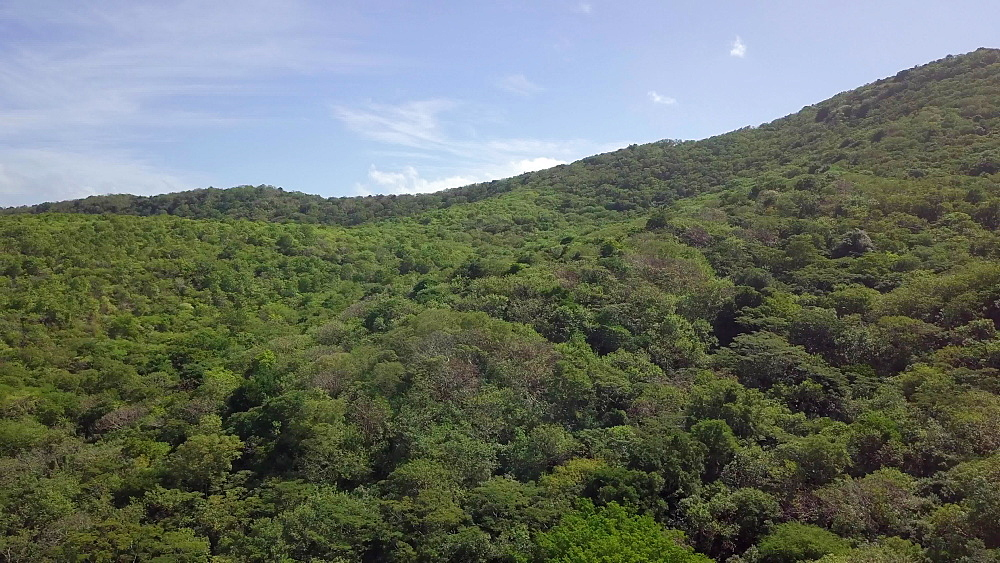Drone shot of hills and greenery around Anse le Roche Beach, Carriacou, Grenada, Caribbean.
