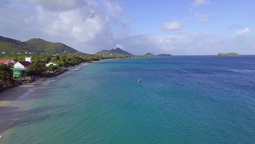 Drone along Hillsborough Beach, Carriacou, Grenada, Caribbean. - 1239-54