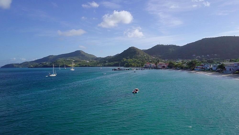 Drone across Hillsborough bay, Carriacou, Grenada, Caribbean. - 1239-55