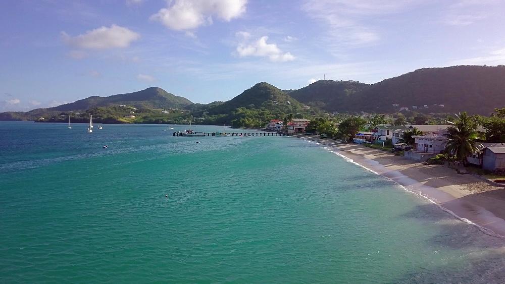 Drone across Hillsborough bay, Carriacou, Grenada, Caribbean. - 1239-56
