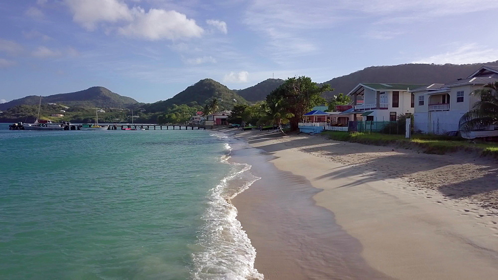 Drone low across Hillsborough beach shoreline, Carriacou, Grenada, Caribbean. - 1239-57