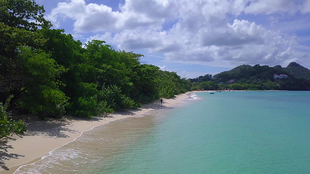 Paradise Beach drone along shoreline, Carriacou, Grenada, Caribbean