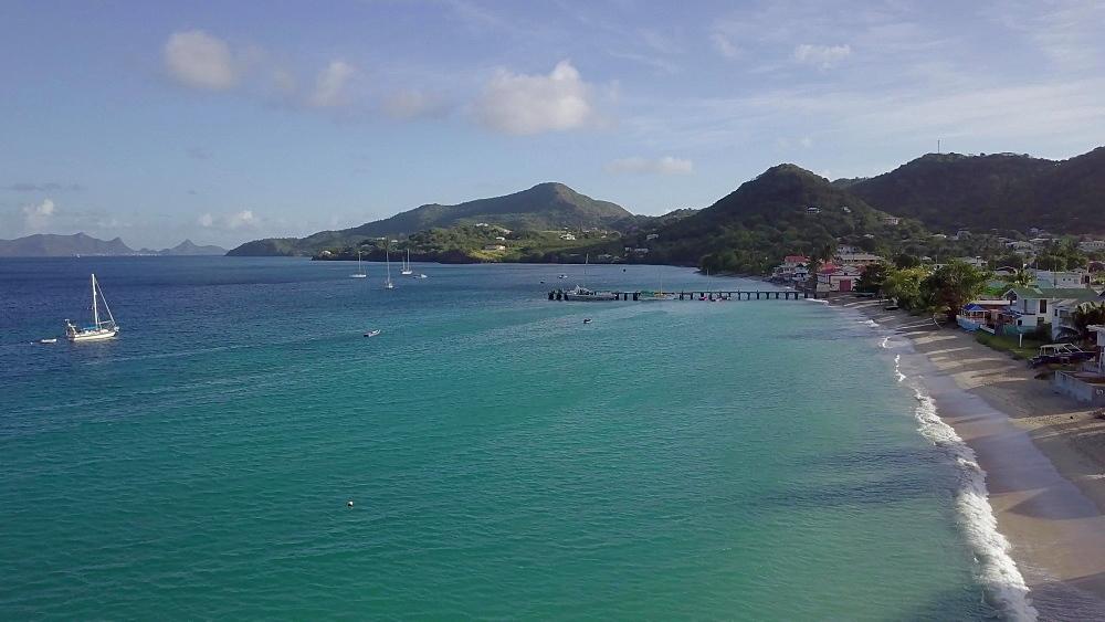 Drone Hillsborough Bay, Carriacou, Grenada, Caribbean. - 1239-61
