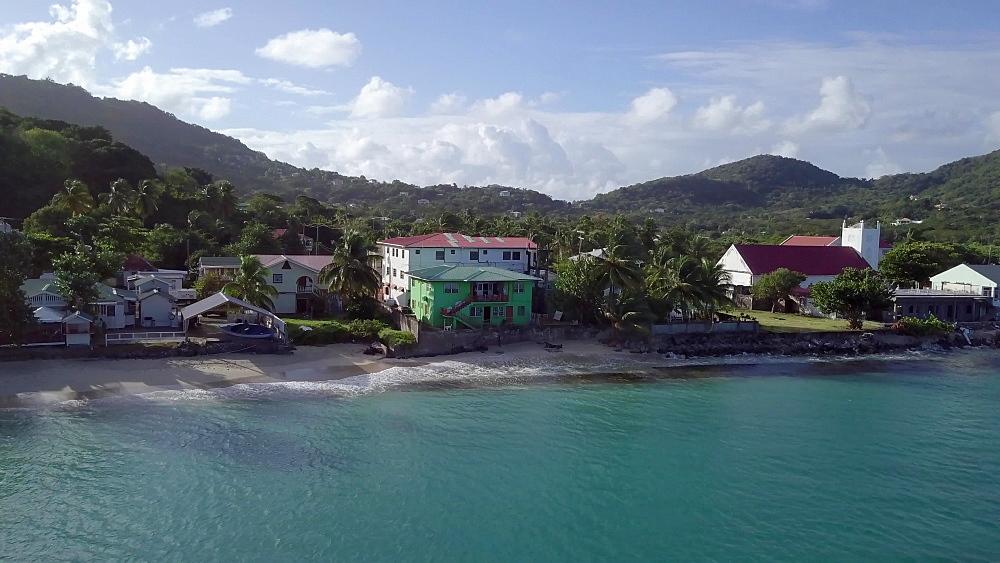 Drone towards Hillsborough Town, Carriacou, Grenada, Caribbean.