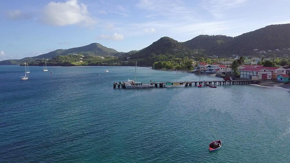 Drone along pier Hillsborough Bay, Carriacou, Grenada, Caribbean. - 1239-63