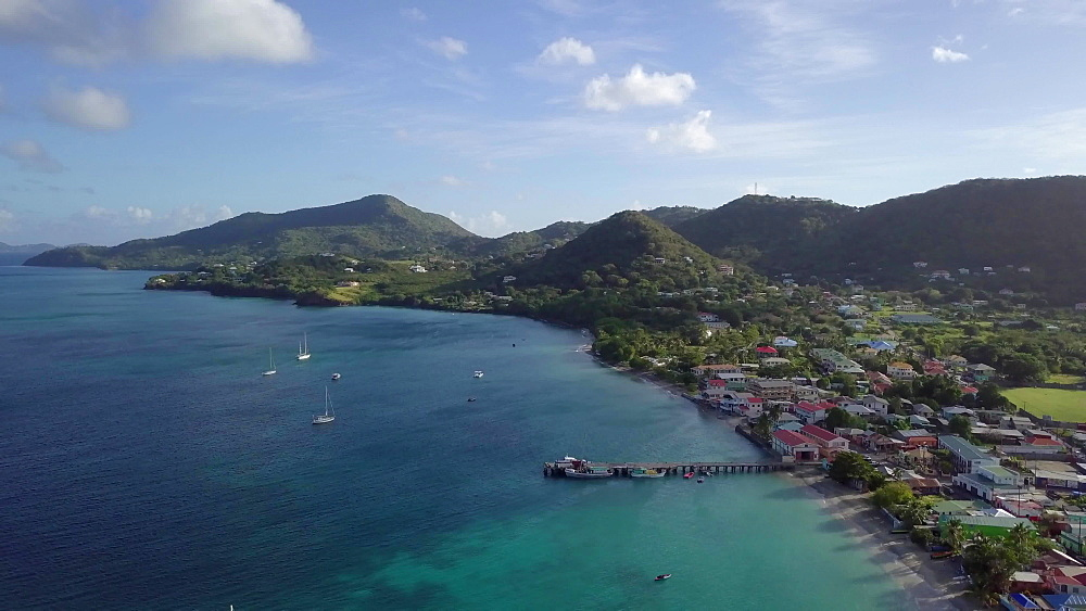Drone over Hillsborough bay from the town, Carriacou, Grenada, Caribbean.