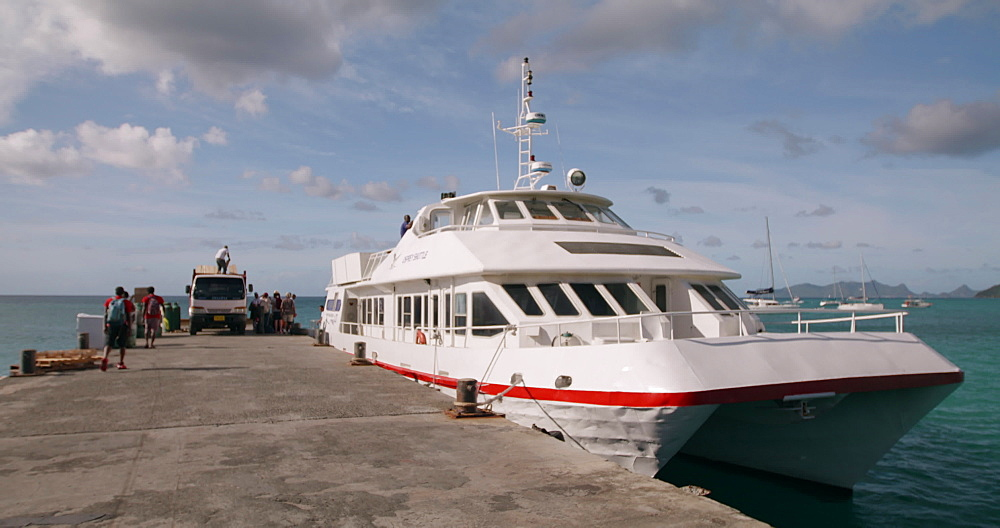 Exterior Osprey Ferry docked in Carriacou, Grenada, Caribbean