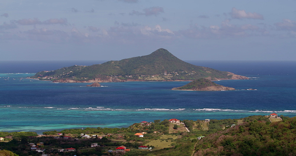 View of Petite Martinique and Petite Dominique Islands from Windward, Carriacou, Grenada, Caribbean.