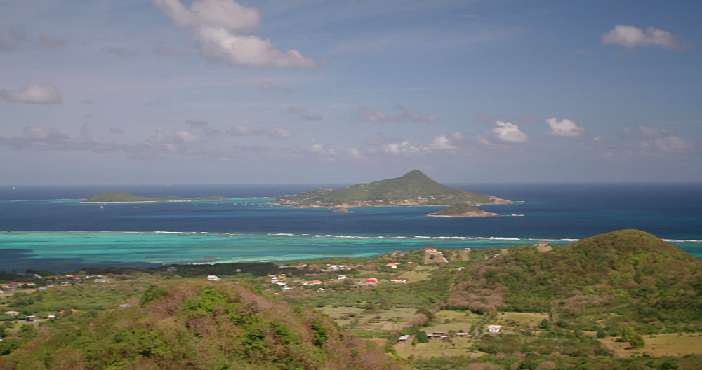 View of Petite Martinique, Petit St Vincent and Petite Dominique Islands from Windward, Carriacou, Grenada, Caribbean.