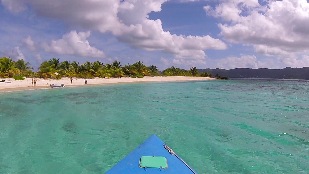 Front of boat gopro approaching Sandy Island Beach, Carriacou, Grenada, Caribbean