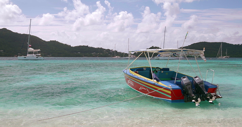 Boat docked at Sandy Island, Carriacou, Grenada, Caribbean