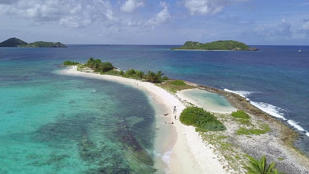 Aerial drone shot along Sandy Island Beach, Carriacou, Grenada, Caribbean