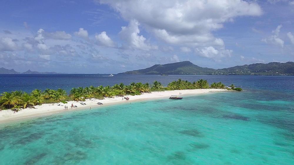 Aerial drone shot Sandy Island Beach, Carriacou, Grenada, Caribbean