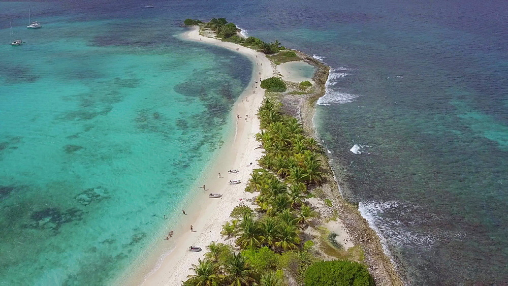 Aerial drone shot Sandy Island and other islands, Carriacou, Grenada, Caribbean