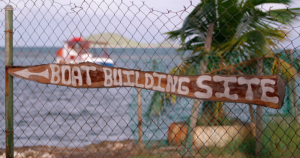 Boat building site sign Windward, Carriacou, Grenada, Caribbean.