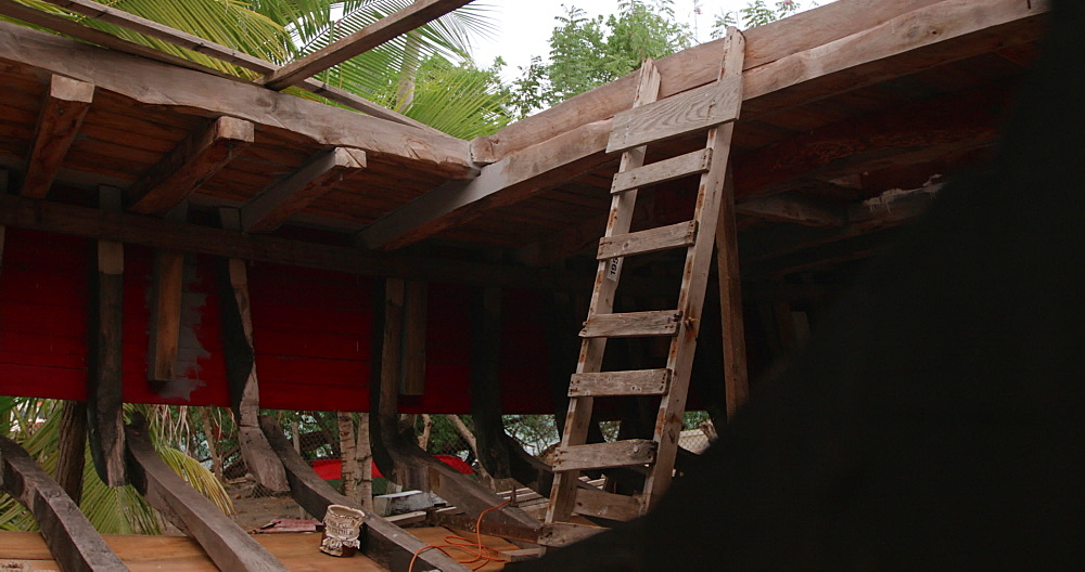 Interior of Traditional sloop boat being constructed, Windward, Carriacou, Grenada, West Indies, Caribbean, Central America