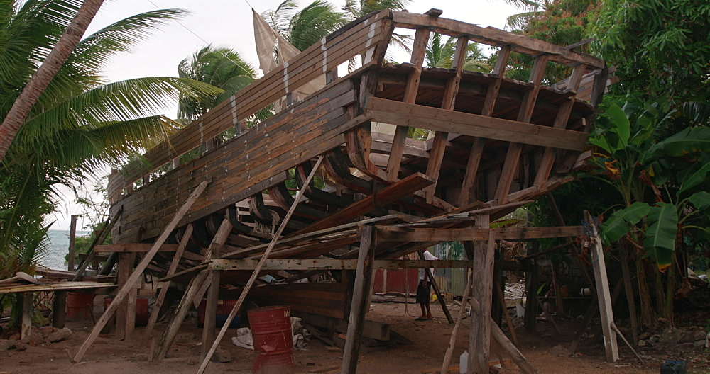 Traditional sloop boat being constructed, Windward, Carriacou, Grenada, Caribbean.