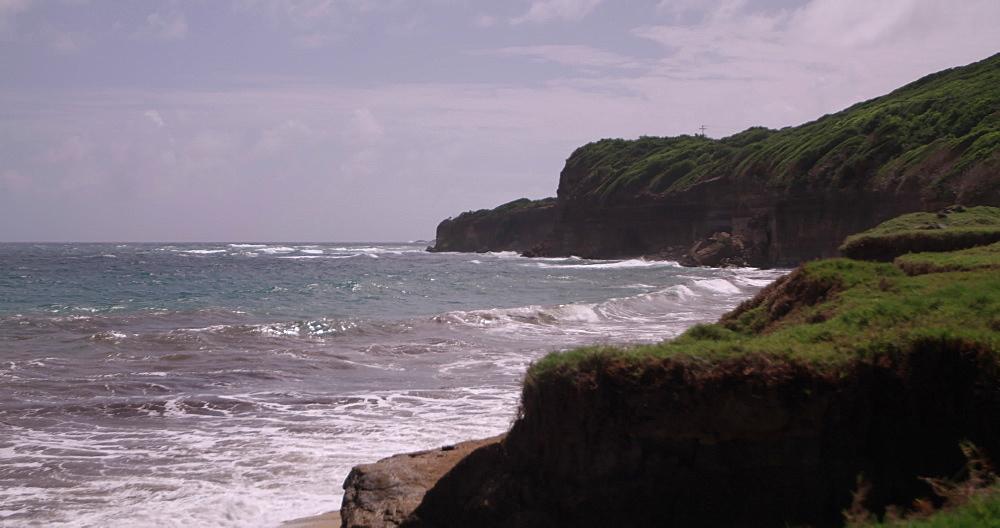 View of Bathway Beach coastline, Levera National Park, Grenada, Caribbean, West Indies.