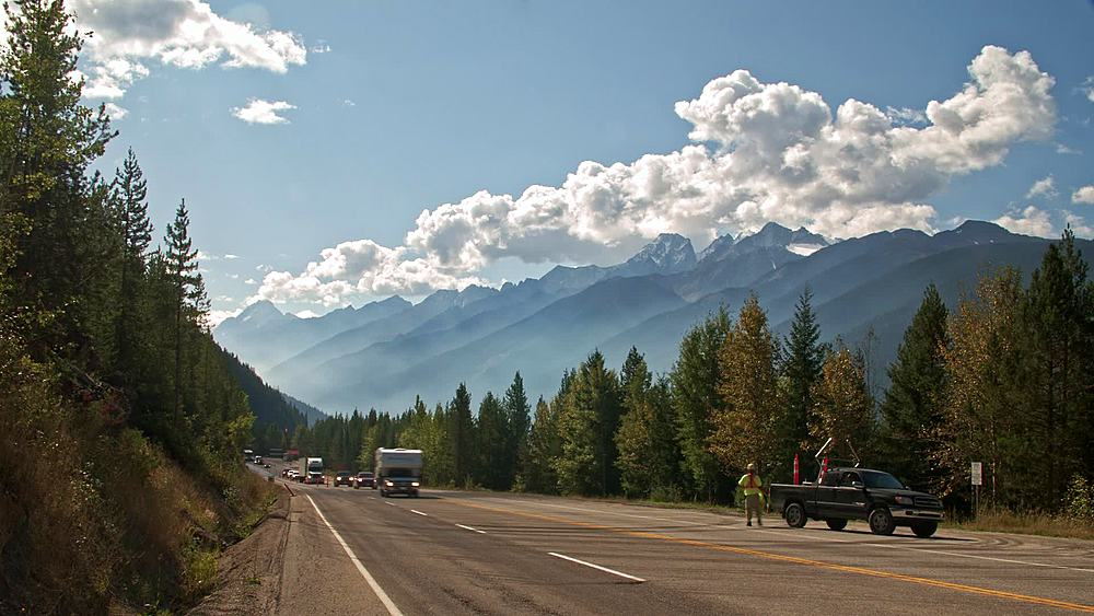 TimeLapse of traffic on the Trans Canada Highway in Glacier National Park, British Columbia, Canada, North America