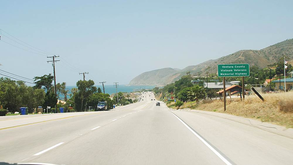Car journey along Highway 1 and West Coast, North of Malibu, California, United States of America, North America