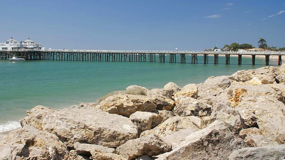 View of Malibu Beach and Malibu Pier, Malibu, California, United States of America, North America