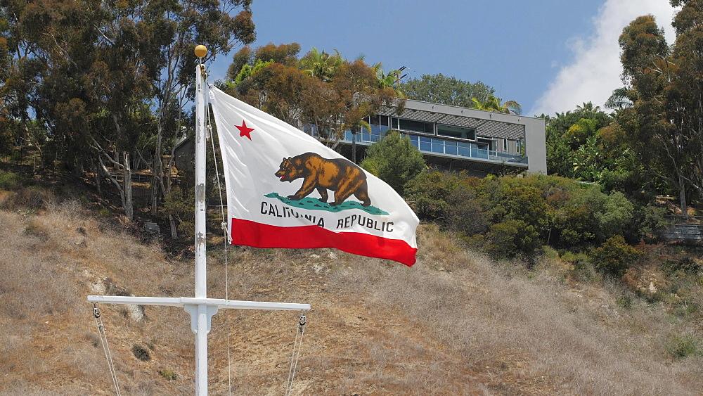 California flag, Malibu, California, United States of America, North America