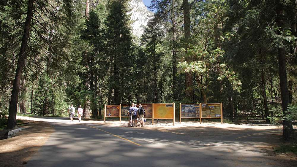 View of information kiosk and signs near Yosemite Village, Yosemite National Park, UNESCO World Heritage Site, California, USA, North America