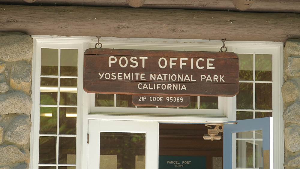 US Post Office sign at Yosemite National Park, UNESCO World Heritage Site, California, USA, North America