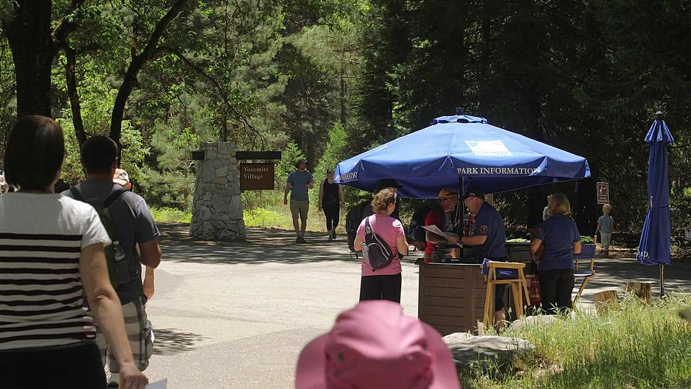 Walkers and cyclists at Yosemite National Park, UNESCO World Heritage Site, California, USA, North America