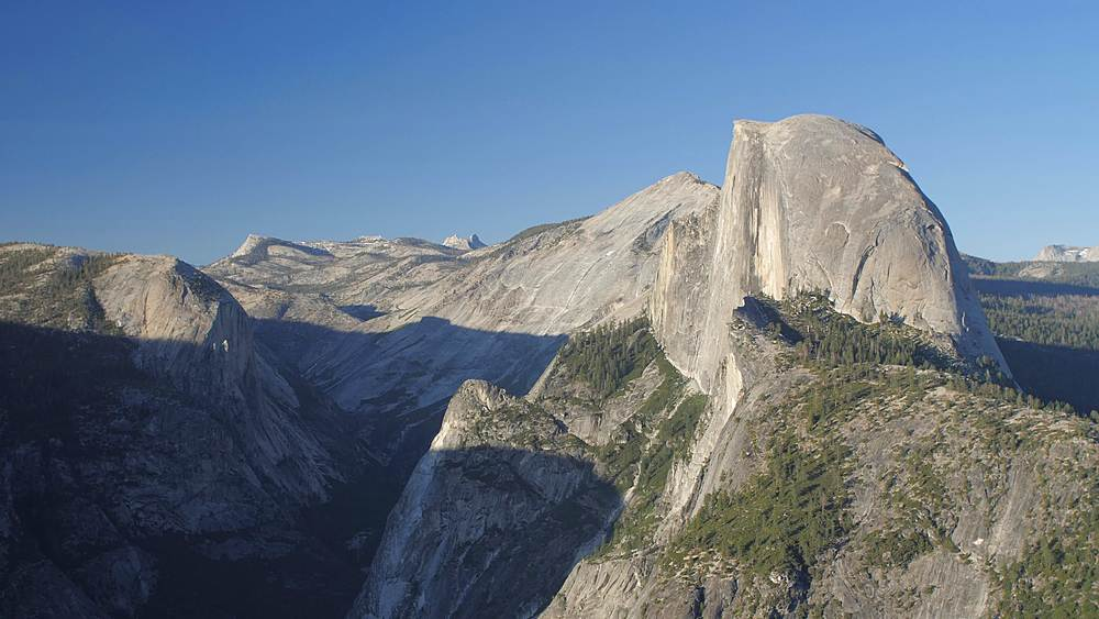 View of Half Dome and visitors at Glacier Point at sunset, Yosemite National Park, UNESCO World Heritage Site, California, USA, North America
