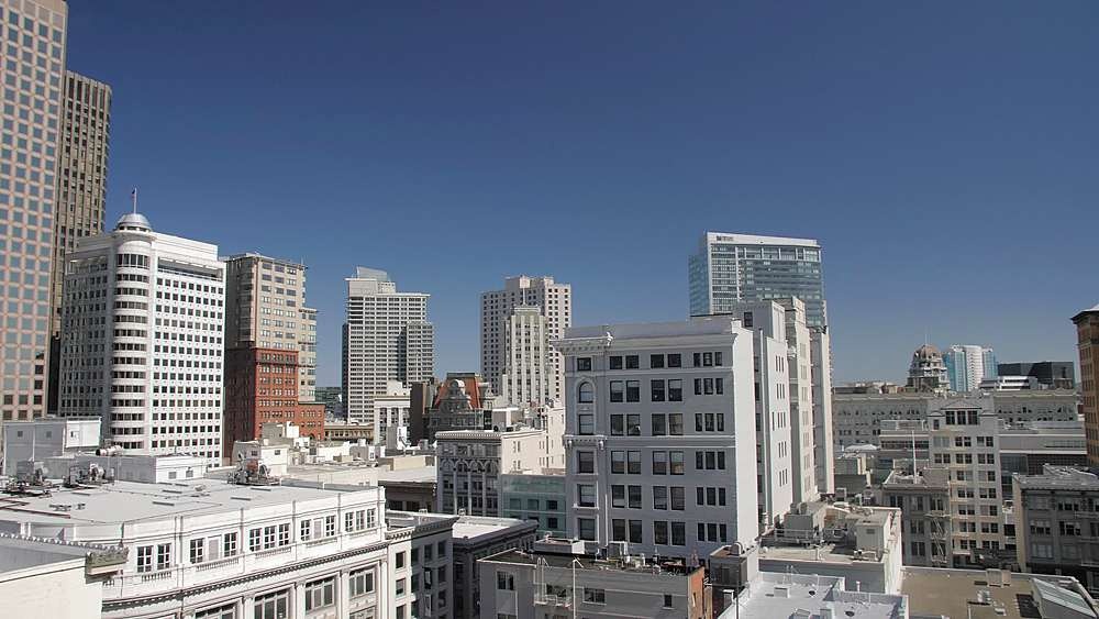 Panning shot of San Francisco Financial District skyline, California, United States of America, North America