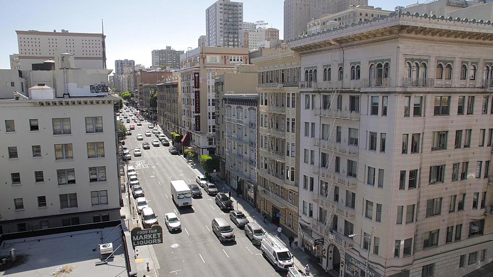 Birds eye view of busy traffic on Bush Street, San Francisco Financial District, California, United States of America, North America