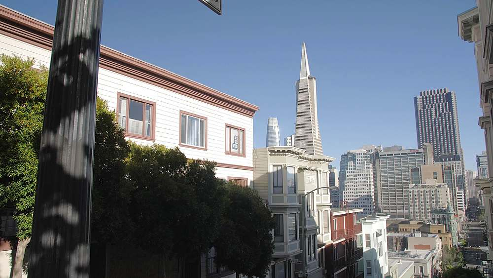 View of busy street from Peter Macchiarini Steps, Telegraph Hill, San Francisco, California, United States of America, North America