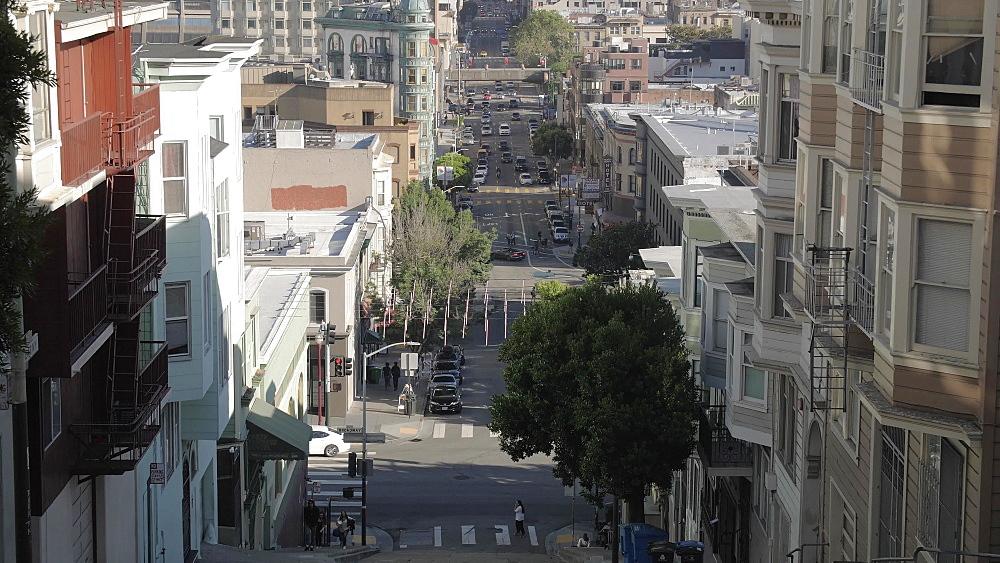 View of Oakland Bay Bridge from Telegraph Hill, San Francisco, California, United States of America, North America