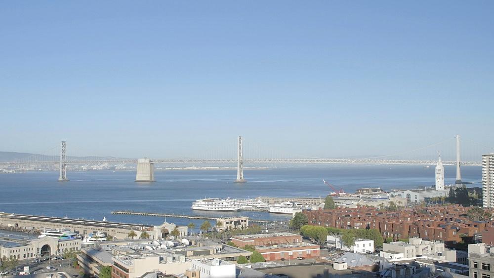 Oakland Bay Bridge and Fishermans Wharf, San Francisco, Telegraph Hill, California, United States of America, North America