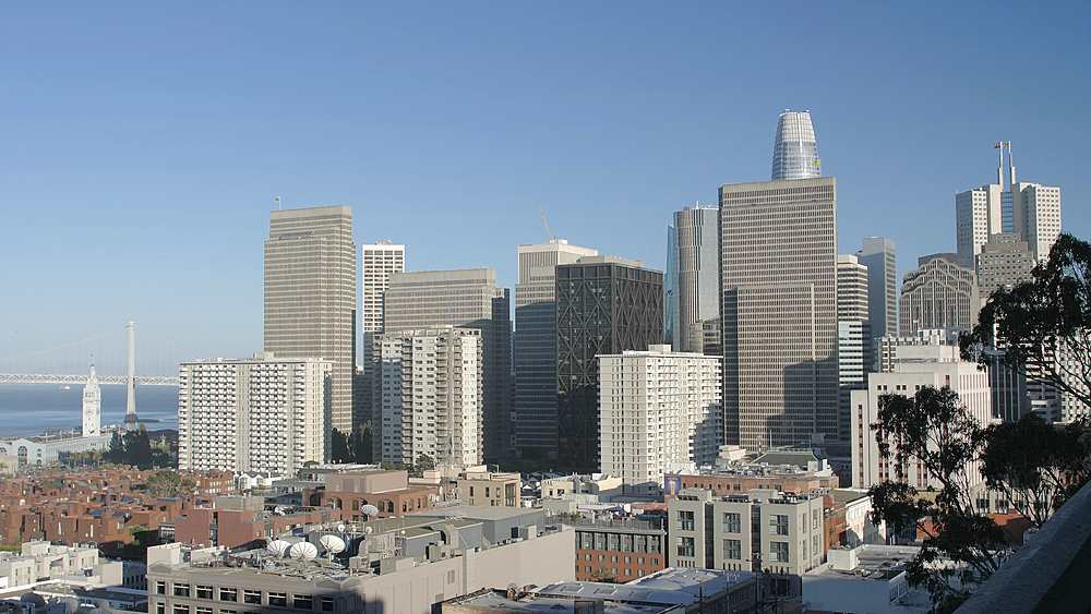 Oakland Bay Bridge and the financial district of downtown San Francisco, Telegraph Hill, California, United States of America, North America