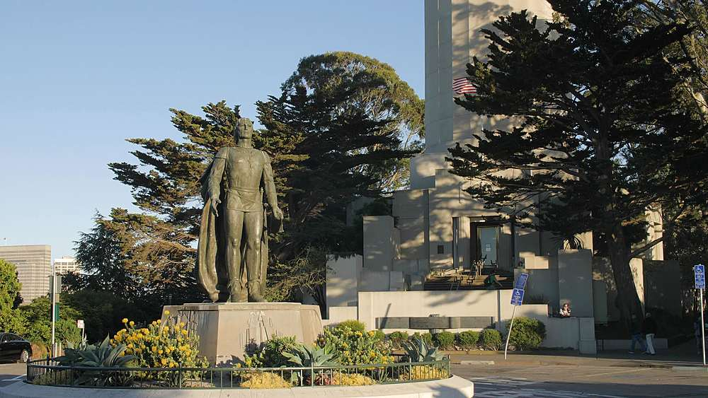 Coit Tower and Christopher Columbus statue, San Francisco, California, United States of America, North America