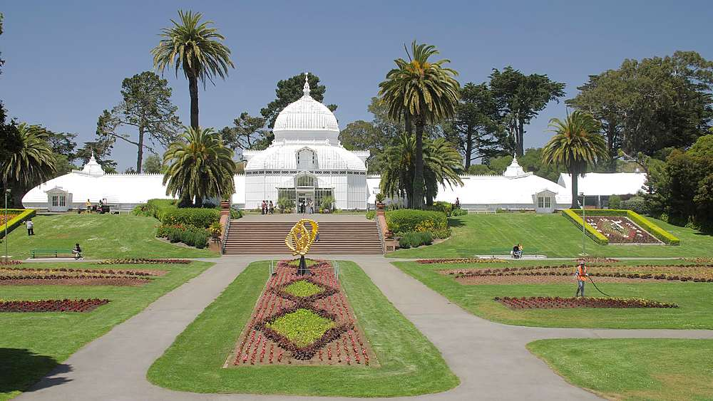 Wide shot of Conservatory of Flowers in Golden Gate Park, San Francisco, California, United States of America, North America