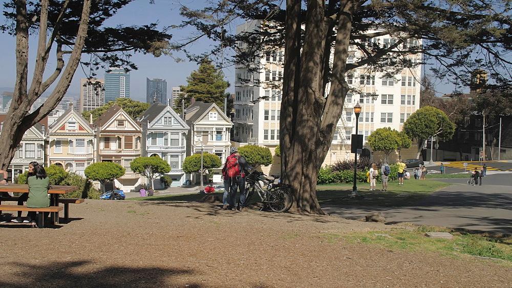 Panning shot of Painted Ladies in Alomo Square, San Francisco, California, United States of America, North America