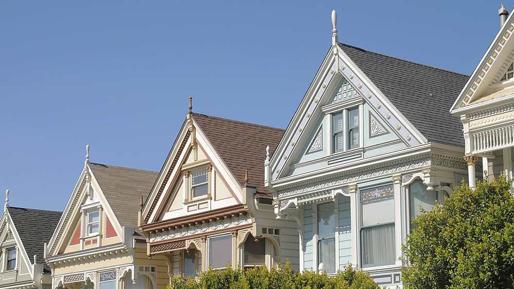 View of Painted Ladies in Alomo Square, San Francisco, California, United States of America, North America