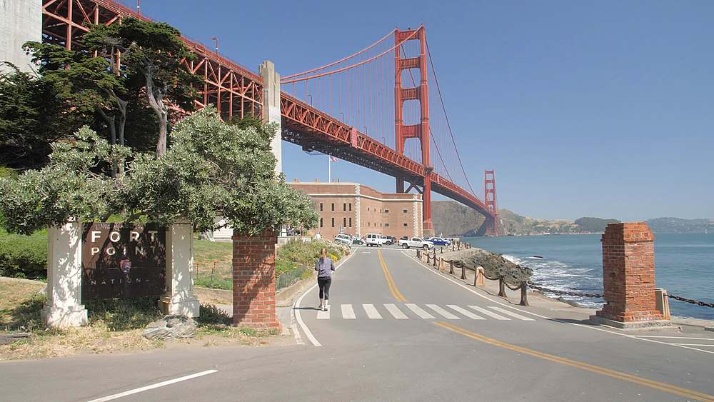 Wide shot of the Golden Gate Bridge from Fort Point, San Francisco, California, United States of America, North America