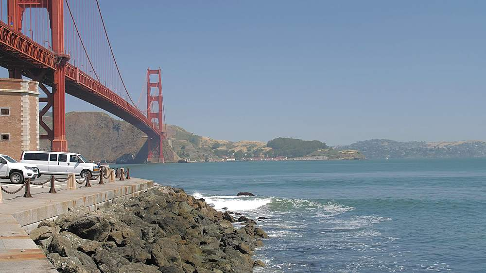 Panning shot of the Golden Gate Bridge from Fort Point, San Francisco, California, United States of America, North America - 1276-1292