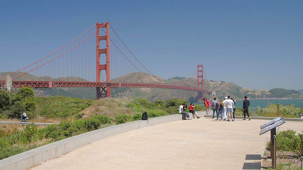 View of cyclists and the Golden Gate Bridge from Golden Gate Welcome Centre, San Francisco, California, United States of America, North America - 1276-1295