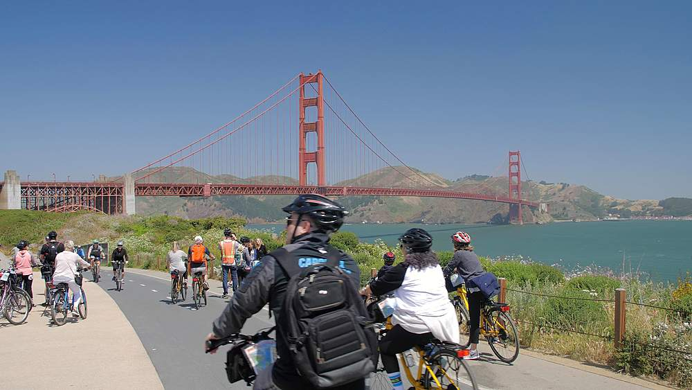 View of cyclists and the Golden Gate Bridge from Golden Gate Welcome Centre, San Francisco, California, United States of America, North America - 1276-1296
