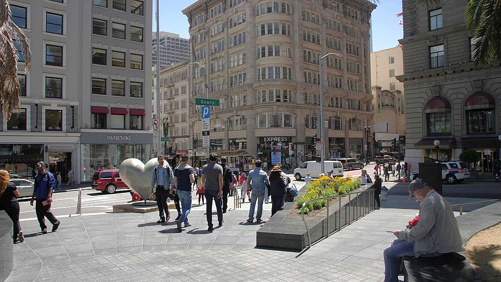 View of busy Union Square, Union Square, San Francisco, California, United States of America, North America - 1276-1312